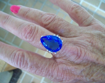 Cornflower Blue Pear Ring Sterling Silver - Huge 18x13 mm