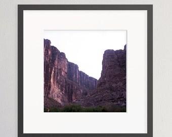 Big Bend National Park, Rio Grande, Texas, Mesa, Purple Sunset, Southwest, Desert Art Photography, Square full frame, 120mm Film (Unframed)