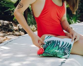 Personalized zipper pouch w/ palm leaf print / makeup travel bag / Mexico destination wedding / bridesmaid clutch bags