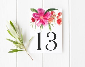 INSTANT DOWNLOAD Table Numbers - Hot Pink Hand Painted Watercolor Flower Posy Table Numbers - Floral Table Numbers Card - Tables 11-15