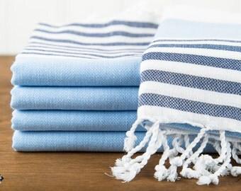S A L E, Nautical Turkish Towel, Blue and Navy, Peshtemal, Beach Towel, Hammam Towel