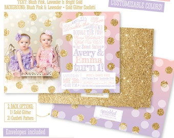 First Birthday Invitation Girl Boy Pink Blue Lavender Stripe - 1st birthday invitations girl purple