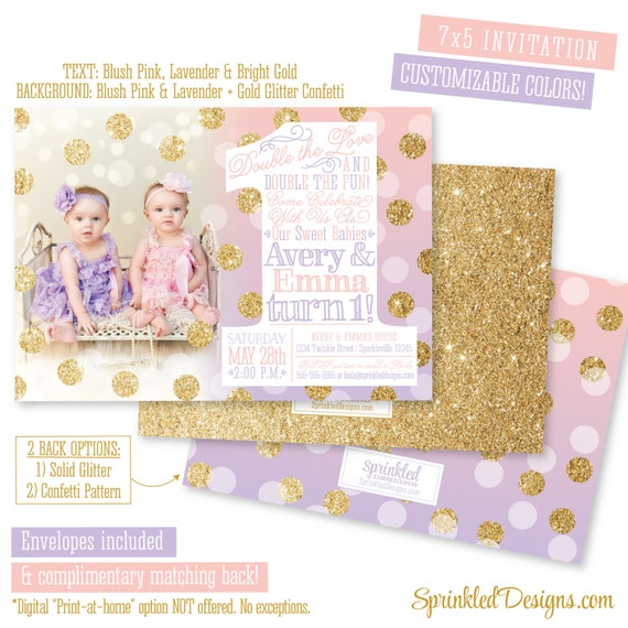 Pink Zebra Print Girls 1st Birthday Invitation: First Birthday Invitation For Twin Girls Blush Pink Lavender