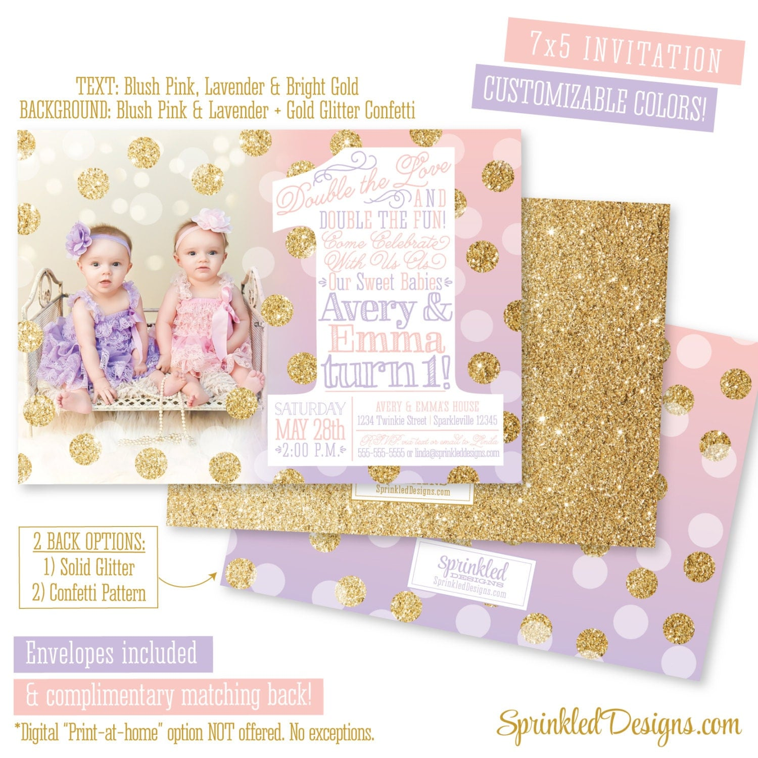 First Birthday Invitation For Twin Girls Blush Pink Lavender