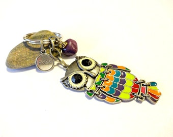 Owl Keychain, Owl Key Chain, Owl Gifts, Peace Keychain, Charm Keychain, Owl Key Fob, Purple Keychain, Gift Under 20, Owl Car Accessories