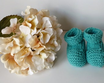 Knitted Baby Booties, Size 3 Months, Colorway Sky, Washable, Baby Gift, Blue