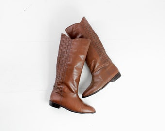 woven leather boots / tall boots / vegan leather boots / tan leather boots / brown leather boots 7 / tan leather boots / size 7