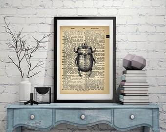 Beetle - Vintage Dictionary Page Art Print