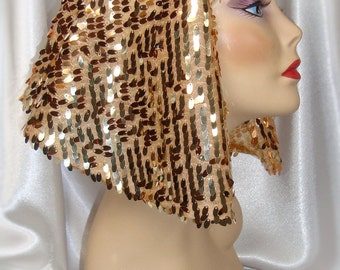 Gold Cleopatra Headpiece, Egypian Inspired Nemes,  Sequin Cleopatra Headdress