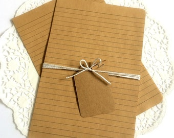 Kraft Brown Notebook Paper. Letter Paper. Journal Paper. Stationery Paper. Lined Paper. Planner Paper. Kraft Paper. Brown Stationery.