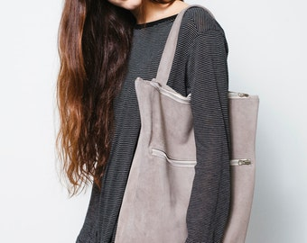 Large gray suede backpack,Gray leather backpack,Big suede shoulder bag,Gray leather bag