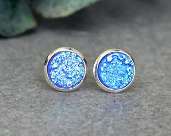 Blue Stud Earrings, Blue Druzy Earrings, Blue Earrings, Blue Post Earrings, Small Blue Earrings, Faux Druzy Earrings, Tiny Blue Earrings