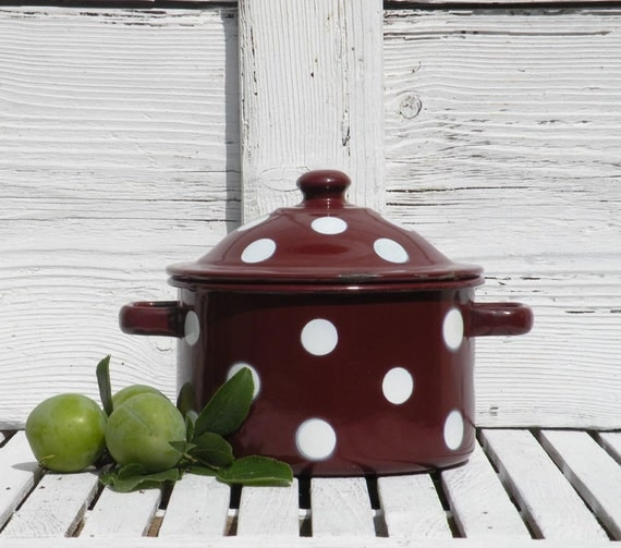 French vintage enamel casserole dish pot, Polka dot enamel pot, French enamelware, country home, shabby chic, French farmhouse