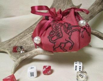 SALE Pink Unicorn Dice Pouch: Greek Mythological Beast, Unicorn Dice Bag, Pagan Altar, Runes Bag, Unicorn Party, Heraldic Unicorn, DnD