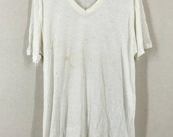 Vintage Super Distressed Thin Blank White Tshirt Size XXLT USA 50/50