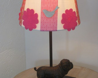 awesome lampshade for the kids room with wooden birds and felt flowers