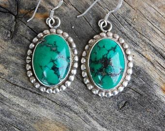 Green Turquoise Sterling Silver Oval Shaped Beaded Dangle French Hook Womens Earrings // Boho // Southwestern