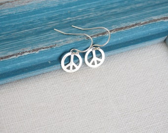 Peace Sign Earrings, Available in Sterling Silver and Gold