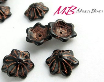 14 Jet Black Flower Beads, Copper Patina Czech Glass Beads, Bell Flower, 12x11mm Glass