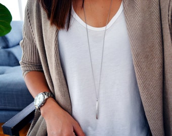 Popular METAL DROP Necklace - Silver Metal Bar Long Necklace - Minimal Modern- Layering necklace