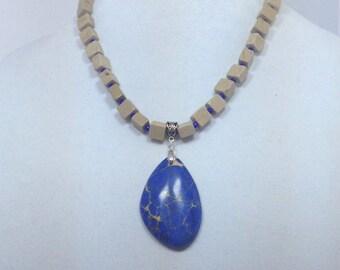 Blue and Beige Jasper Gemstone Statement Necklace