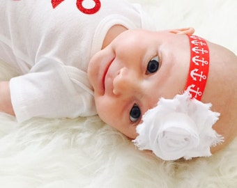 Nautical Headband, Baby Headband, Infant Headband, Flower Headband, Beach Headband, Baby Girl Headband, Summer Headband, Newborn, Anchors
