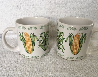 Newcor Vegetable Garden Corn Mugs, Corn Mugs, Coffee Cups, Coffee Mugs, Tea Mugs, Newcor #071533, Vegetable Mugs, 1988, Korea, Garden Mugs