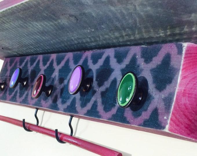 Moroccan decor /Floating vanity geometric shelves /reclaimed wood wall coat rack shelf /rustic makeup organizer 5 knobs 2 hooks bracelet bar