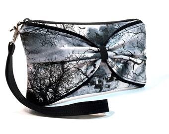 Gothic Wristlet, Clutch, Gothic Purse, Raven Wristlet, iPhone Wristlet, iPhone Wallet, Goth Bag, Goth Purse, Edgy, Rocker, Black and White