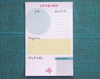 To-Do List Notepad // Personalized To-Do Pad // Organizational Notepad // Monogrammed To-Do List // Wedding Planning Notepad // Planner