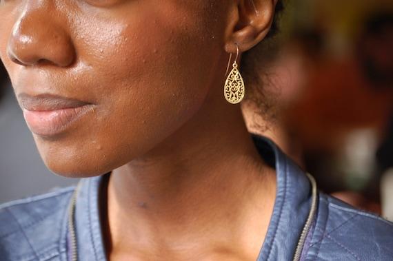 14k Gold Earrings, Gold Earrings, 14K Gold Dangle Earrings, Teardrop Earrings, Gold Teardrop Earrings, Nickel Free Earrings, Drop Earrings