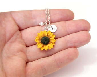 Sunflower Necklace, Yellow Pendant, Personalized Initial Disc Necklace, Bridesmaid Necklace, Yellow Bridesmaid Jewelry, Sunflower Flower