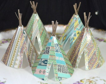 Edible Teepee's 3D x 5 Native Tribal Boho Tipi Wafer Paper Bohemian Wedding Cake Decorations Wild One Rustic Birthday Cupcake Toppers Cookie