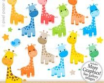 Giraffe  Clipart - Digital Clip Art - Giraffe - Personal and commercial use