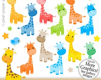 Giraffe  Clipart - Digital Clip Art - Giraffe - Personal and commercial use