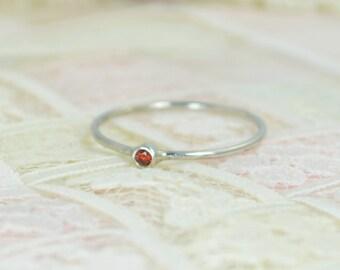 Tiny Garnet Ring Set, Solid White Gold Wedding Set, Garnet Stacking Ring, White Gold Garnet Ring, Garnet Engagement Ring, January Birthstone