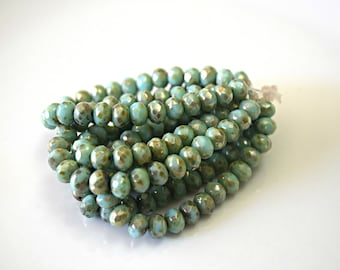 Green Mint Picasso Rondelle Czech Glass Beads Czech Green Rondelles Mint Czech Glass Beads Green Czech Glass Beads 7x5mm (10 pcs)