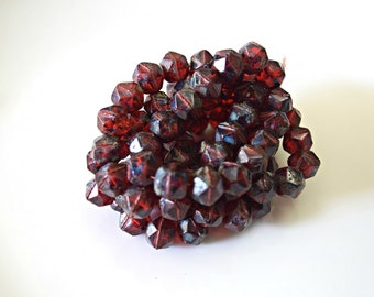 Red Picasso English Cut Czech Glass Beads Marsala English Cut Glass Beads Red Marsala Palette Czech Beads 10mm (10 pcs) 35V3