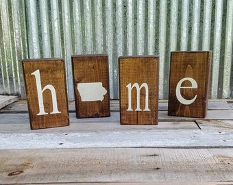 Iowa Sign//Iowa Block Sign//Sign/Block Sign//Housewarming GiftMother's Day Gift//Graduation Gift/Iowa Home Wood Blocks Decor