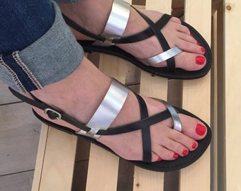 Black Silver Strappy Sandals for Women,FREE SHIPPING in the USA,Greek Leather Sandals,gladiator,flat,summer,women's,Roman leather sandals