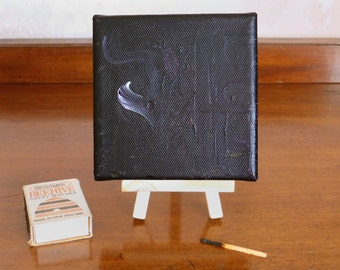 Small black abstract painting, 'Smoke Without Fire' contemporary art, black decor, minimalist art, 4x4 canvas, optional display easel
