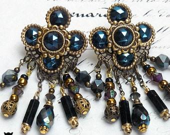 Gifts for Her, Bohemian Beaded Dangle Earrings. Swarovski Crystals, Czech Glass Beads, Toho Beads