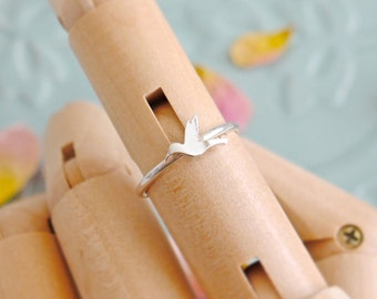 Sterling Silver Hummingbird Stacking Ring