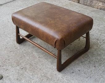 Mid century modern adjustable footstool ottoman Pearl Wick Leg Lounger