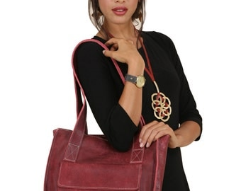 Tote-Maroon Leather Tote bag-Shoulder Bags-Leather Bags-Leather Shoulder Bag-Leather Tote-Women Bag-Handmade Bag-Red Bag