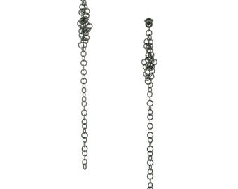 Fine chain earrings, black chain earrings, long chain earrings, elegant chain earrings, drop earrings, shoulder skimmers, (free delivery)