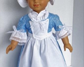 Colonial Day Dress for Elizabeth, Felicity or Most 18 Inch Dolls