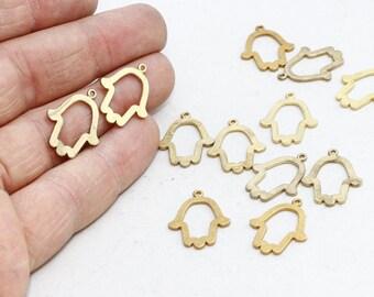 10 Pcs 17x22mm Raw Brass Cut Hamsa Pendant, Hamsa Charms, Hamsa Necklace, Fatima Hand, Brass , SOM116
