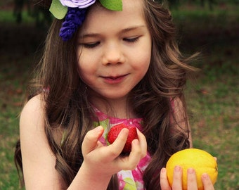 felt flower headband, baby girl headband, purple flower headband