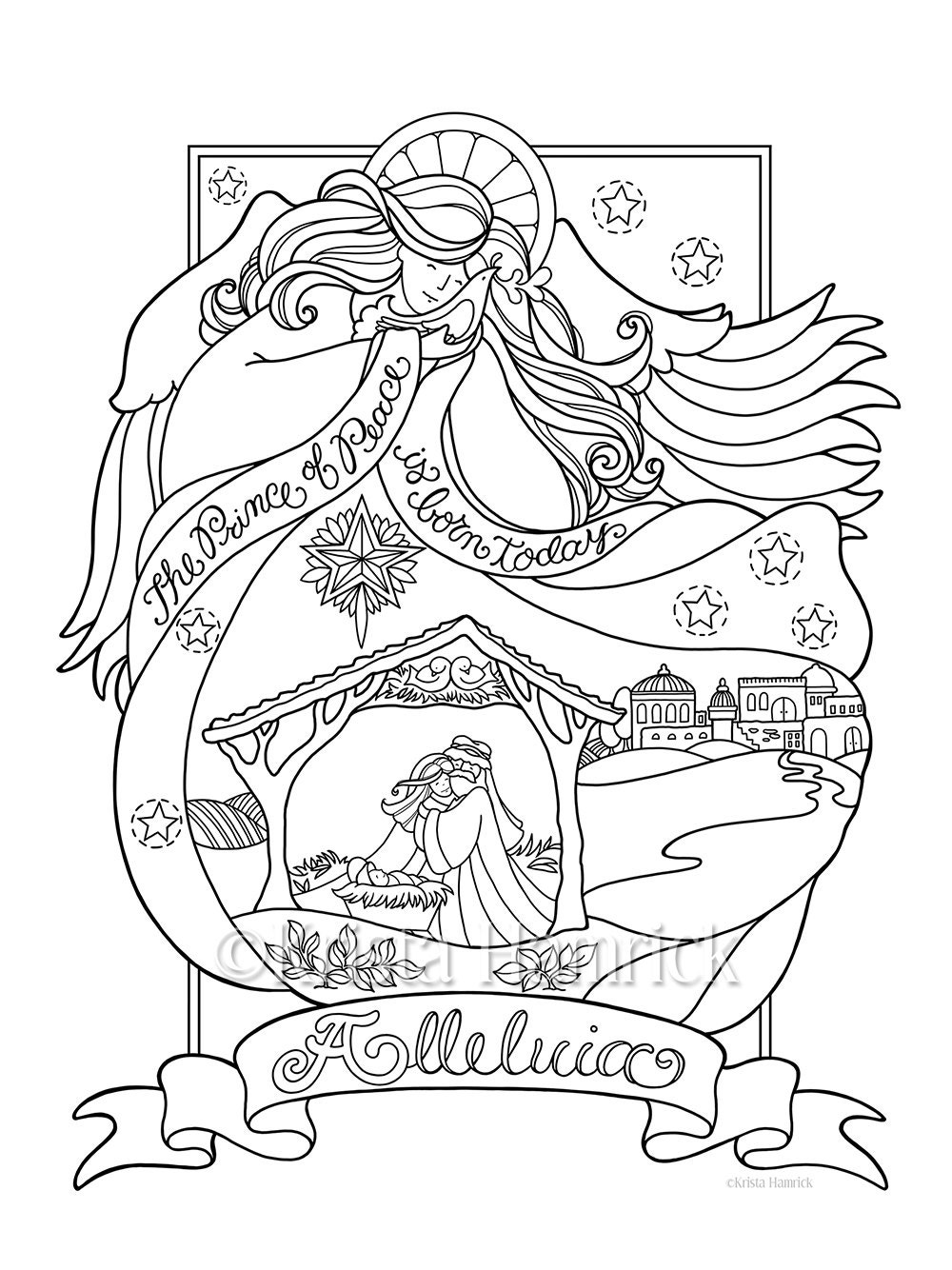 Angel Nativity coloring page in